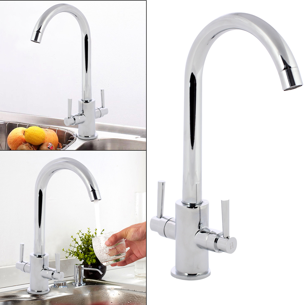 Kitchen Tap Sink Mixer Twin Lever Handle Faucet Chrome Brushed Taps