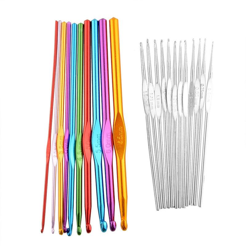 22 Coloured Aluminium Crochet Hooks in Bag 0.6-6.5mm Needles Yarn Knitting