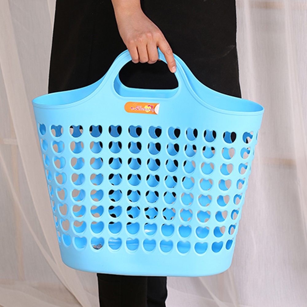 Flexible Plastic Laundry Washing Basket With Handles Bin